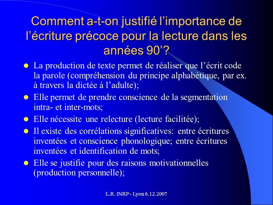 L.R. INRP - Lyon 6.12.2007 Comment a-t-on justifié limportance de lécriture précoce pour la lecture dans les années 90? La production de texte permet