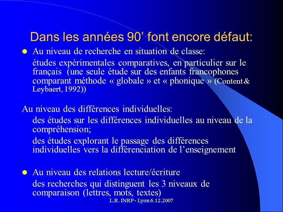L.R. INRP - Lyon 6.12.2007 Dans les années 90 font encore défaut: Au niveau de recherche en situation de classe: études expérimentales comparatives, e