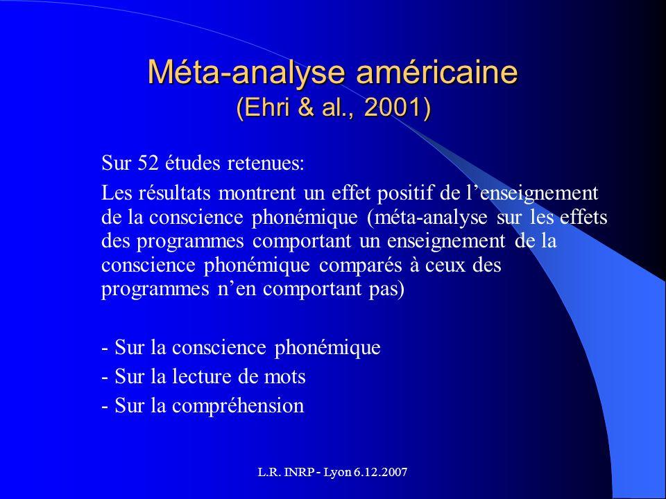L.R. INRP - Lyon 6.12.2007 Méta-analyse américaine (Ehri & al., 2001) Sur 52 études retenues: Les résultats montrent un effet positif de lenseignement