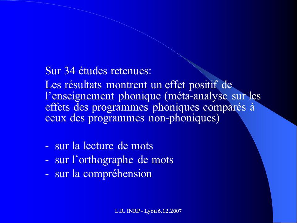 L.R. INRP - Lyon 6.12.2007 Sur 34 études retenues: Les résultats montrent un effet positif de lenseignement phonique (méta-analyse sur les effets des