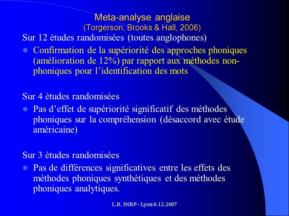 L.R. INRP - Lyon 6.12.2007 Meta-analyse anglaise (Torgerson, Brooks & Hall, 2006) Sur 12 études randomisées (toutes anglophones) Confirmation de la su