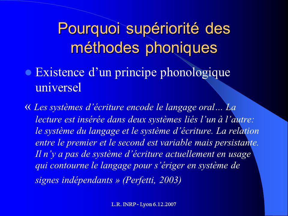 L.R. INRP - Lyon 6.12.2007 Pourquoi supériorité des méthodes phoniques Existence dun principe phonologique universel « Les systèmes décriture encode l