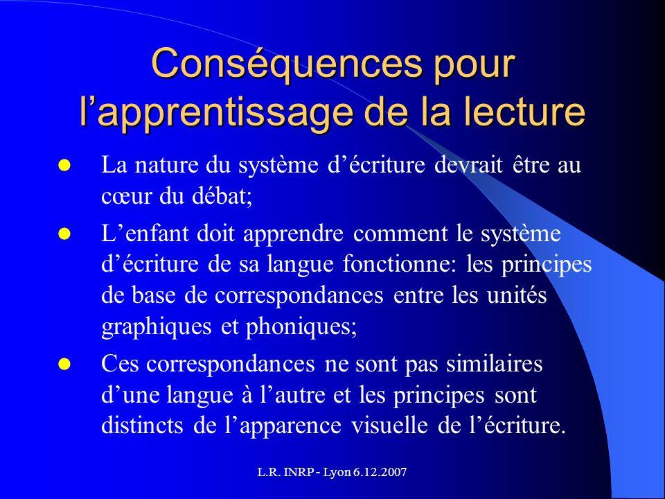 L.R. INRP - Lyon 6.12.2007 Conséquences pour lapprentissage de la lecture La nature du système décriture devrait être au cœur du débat; Lenfant doit a
