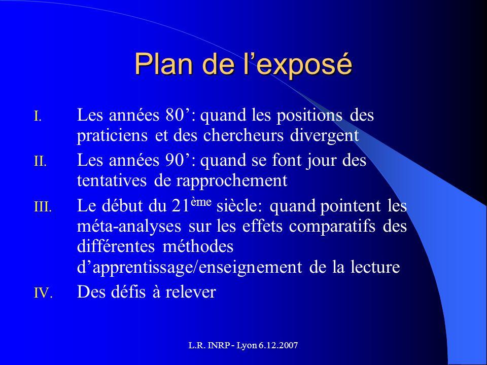 L.R. INRP - Lyon 6.12.2007 Plan de lexposé I.