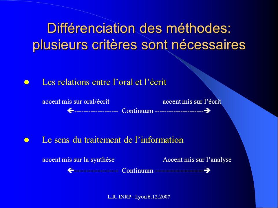 L.R. INRP - Lyon 6.12.2007 Différenciation des méthodes: plusieurs critères sont nécessaires Les relations entre loral et lécrit accent mis sur oral/é