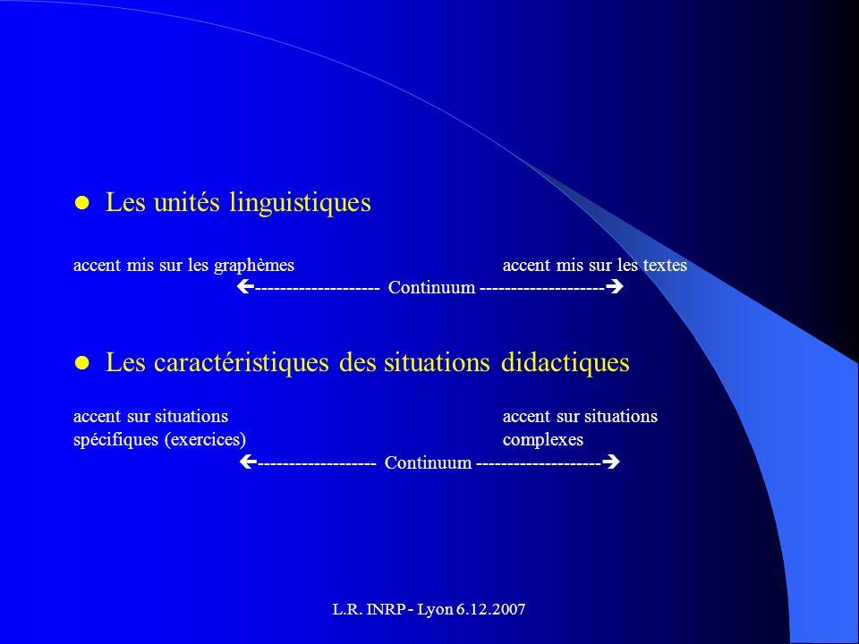 L.R. INRP - Lyon 6.12.2007 Les unités linguistiques accent mis sur les graphèmes accent mis sur les textes -------------------- Continuum ------------
