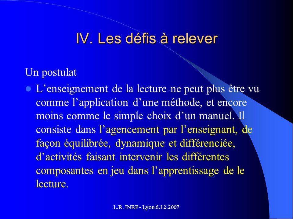 L.R. INRP - Lyon 6.12.2007 IV.