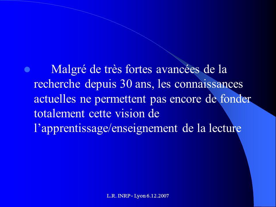 L.R. INRP - Lyon 6.12.2007 Malgré de très fortes avancées de la recherche depuis 30 ans, les connaissances actuelles ne permettent pas encore de fonde