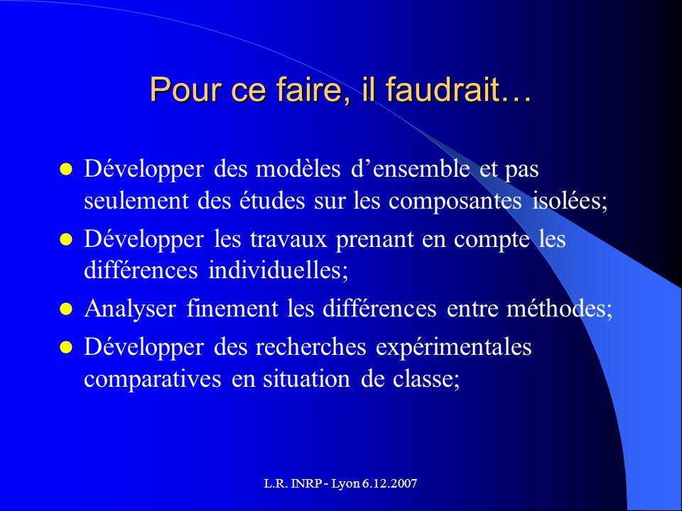 L.R. INRP - Lyon 6.12.2007 Pour ce faire, il faudrait… Développer des modèles densemble et pas seulement des études sur les composantes isolées; Dével