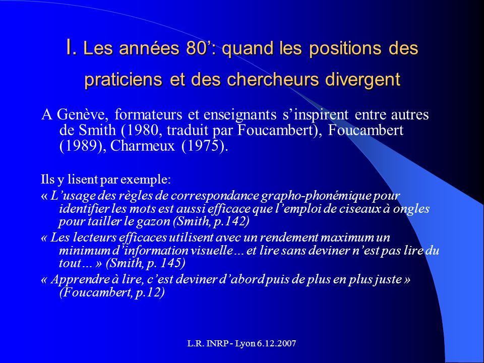 L.R. INRP - Lyon 6.12.2007 I.
