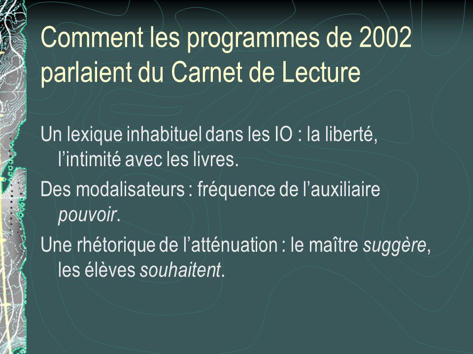 Comment les programmes de 2002 parlaient du Carnet de Lecture Un lexique inhabituel dans les IO : la liberté, lintimité avec les livres. Des modalisat