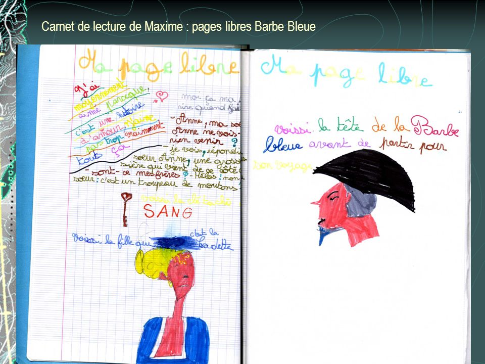 Carnet de lecture de Maxime : pages libres Barbe Bleue