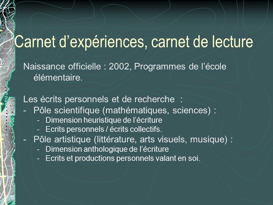 Carnet dexpériences, carnet de lecture Naissance officielle : 2002, Programmes de lécole élémentaire. Les écrits personnels et de recherche : -Pôle sc