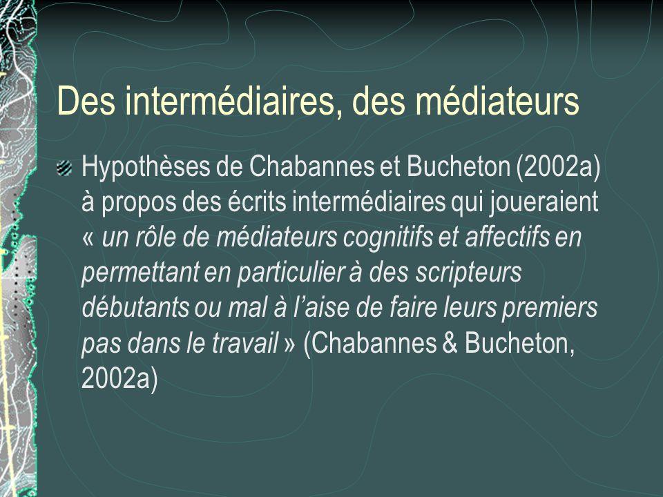 Des intermédiaires, des médiateurs Hypothèses de Chabannes et Bucheton (2002a) à propos des écrits intermédiaires qui joueraient « un rôle de médiateu