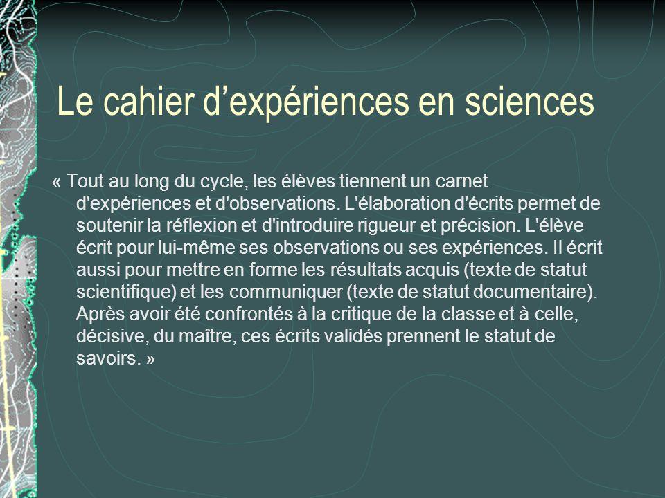 Le cahier dexpériences en sciences « Tout au long du cycle, les élèves tiennent un carnet d'expériences et d'observations. L'élaboration d'écrits perm