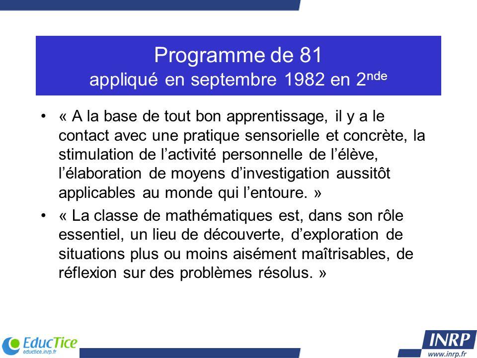 Programme de 81 appliqué en septembre 1982 en 2 nde « A la base de tout bon apprentissage, il y a le contact avec une pratique sensorielle et concrète