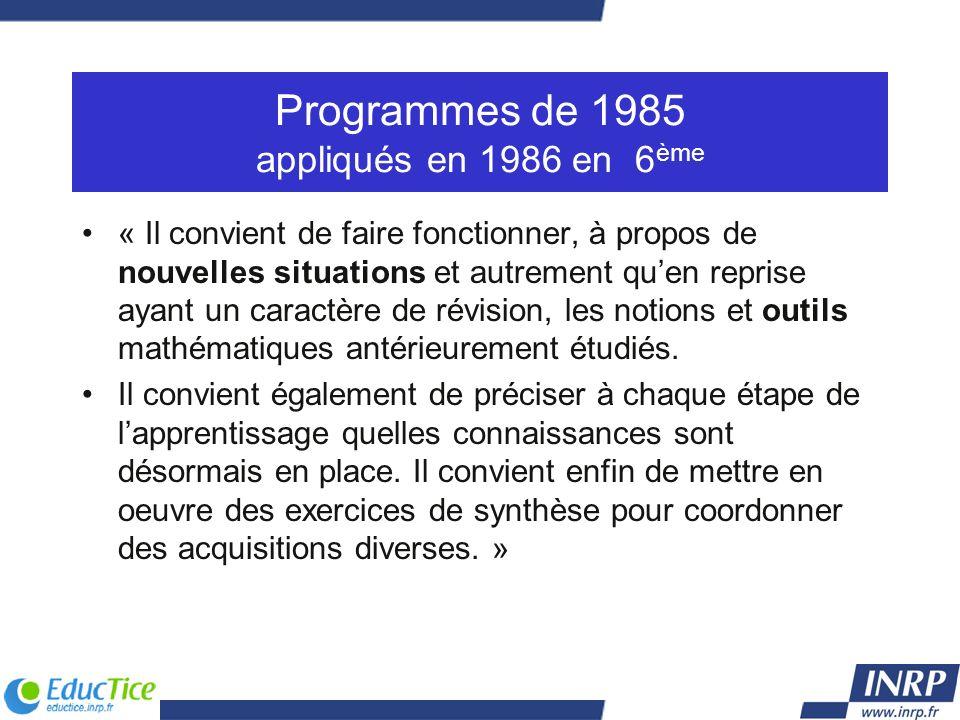 Programmes de 1985 appliqués en 1986 en 6 ème « Il convient de faire fonctionner, à propos de nouvelles situations et autrement quen reprise ayant un