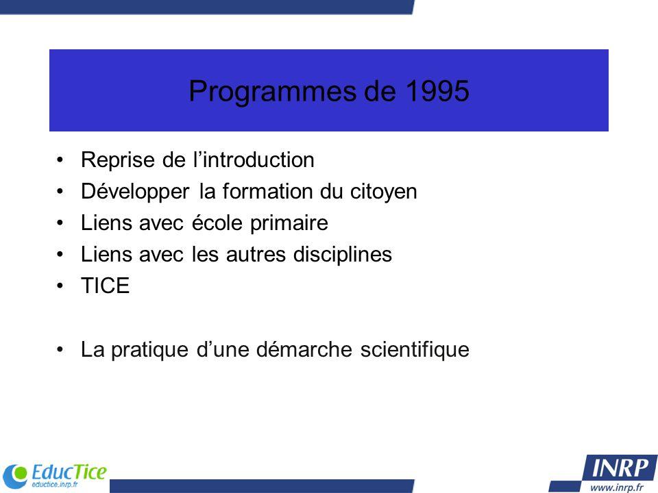 Programmes de 1995 Reprise de lintroduction Développer la formation du citoyen Liens avec école primaire Liens avec les autres disciplines TICE La pra