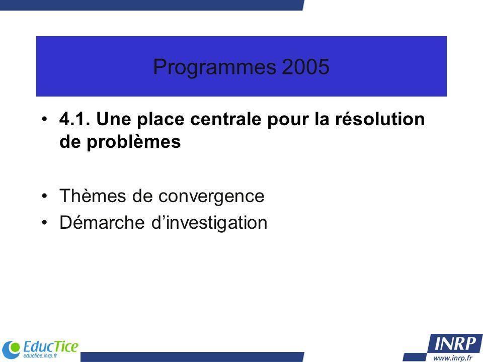 Programmes 2005 4.1. Une place centrale pour la résolution de problèmes Thèmes de convergence Démarche dinvestigation
