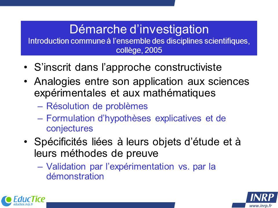 Démarche dinvestigation Introduction commune à lensemble des disciplines scientifiques, collège, 2005 Sinscrit dans lapproche constructiviste Analogie