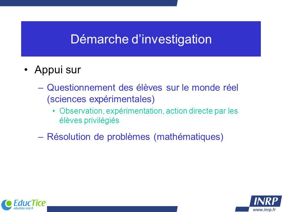 Démarche dinvestigation Appui sur –Questionnement des élèves sur le monde réel (sciences expérimentales) Observation, expérimentation, action directe