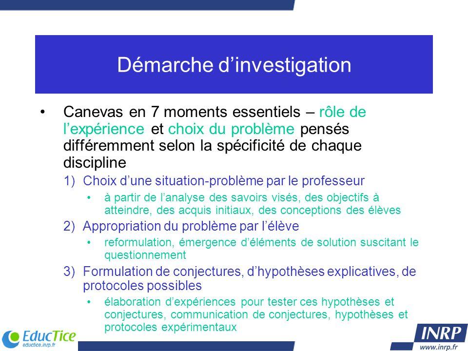 Démarche dinvestigation Canevas en 7 moments essentiels – rôle de lexpérience et choix du problème pensés différemment selon la spécificité de chaque