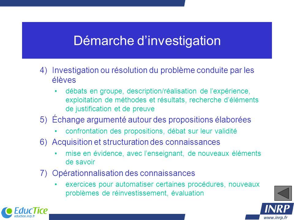 Démarche dinvestigation 4)Investigation ou résolution du problème conduite par les élèves débats en groupe, description/réalisation de lexpérience, ex