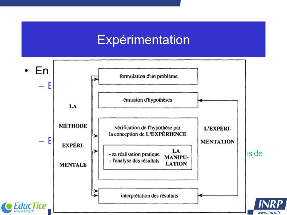 Expérimentation En sciences expérimentales : –Expérimentation processus qui conduit à partir de l'émission de l'hypothèse à la réalisation d'une expér