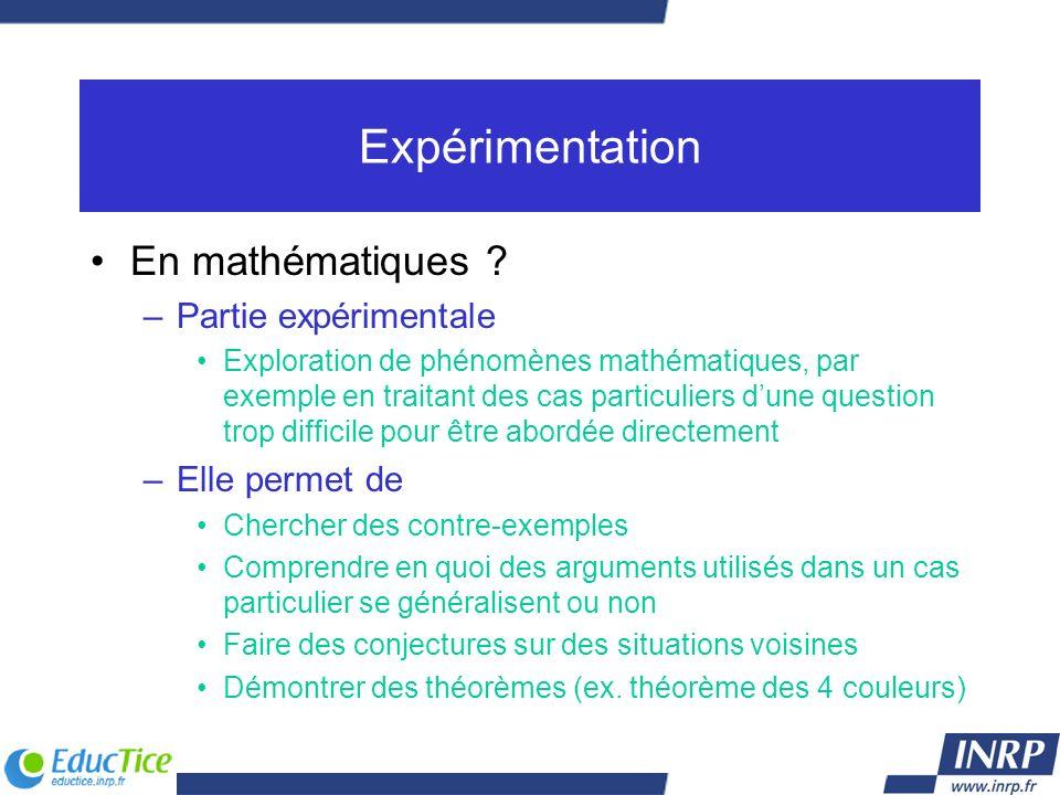 Expérimentation En mathématiques ? –Partie expérimentale Exploration de phénomènes mathématiques, par exemple en traitant des cas particuliers dune qu