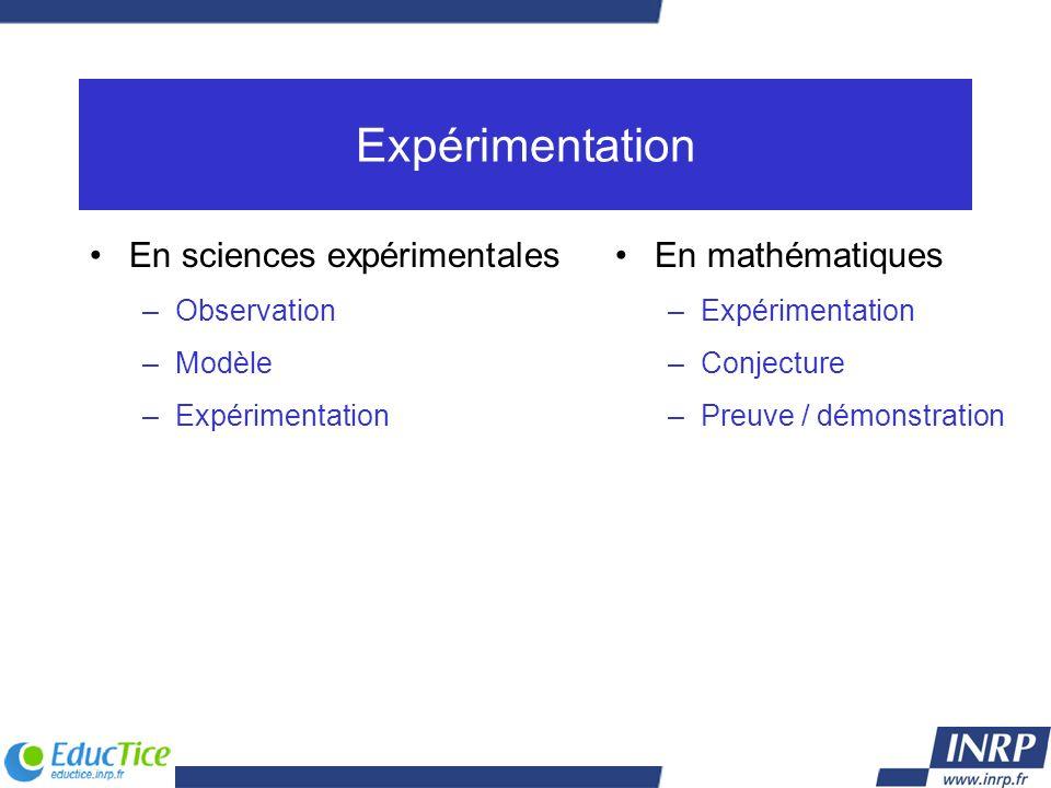 Expérimentation En sciences expérimentales –Observation –Modèle –Expérimentation En mathématiques –Expérimentation –Conjecture –Preuve / démonstration