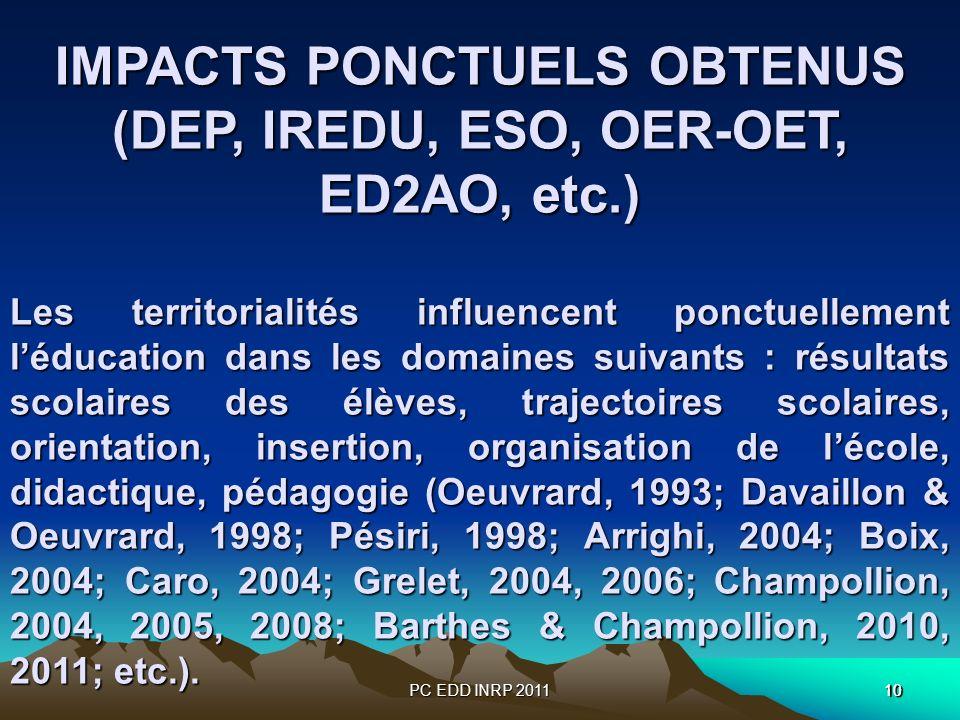 PC EDD INRP 201110 IMPACTS PONCTUELS OBTENUS (DEP, IREDU, ESO, OER-OET, ED2AO, etc.) Les territorialités influencent ponctuellement léducation dans les domaines suivants : résultats scolaires des élèves, trajectoires scolaires, orientation, insertion, organisation de lécole, didactique, pédagogie (Oeuvrard, 1993; Davaillon & Oeuvrard, 1998; Pésiri, 1998; Arrighi, 2004; Boix, 2004; Caro, 2004; Grelet, 2004, 2006;Champollion, 2004, 2005, 2008; Barthes & Champollion, 2010, 2011; etc.).
