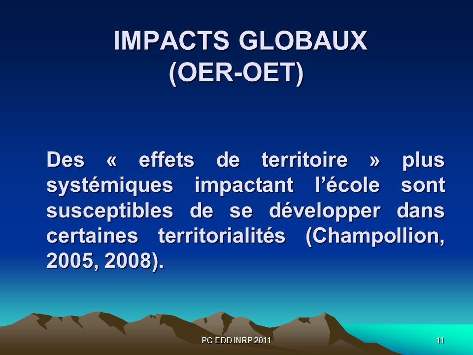 PC EDD INRP 201111 IMPACTS GLOBAUX (OER-OET) IMPACTS GLOBAUX (OER-OET) Des « effets de territoire » plus systémiques impactant lécole sont susceptibles de se développer dans certaines territorialités (Champollion, 2005, 2008).