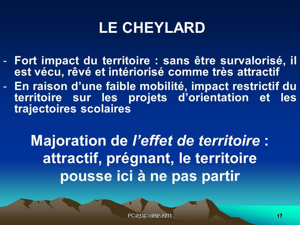 PC EDD INRP 201117 PC ERM 2011 17 LE CHEYLARD -Fort impact du territoire : sans être survalorisé, il est vécu, rêvé et intériorisé comme très attracti