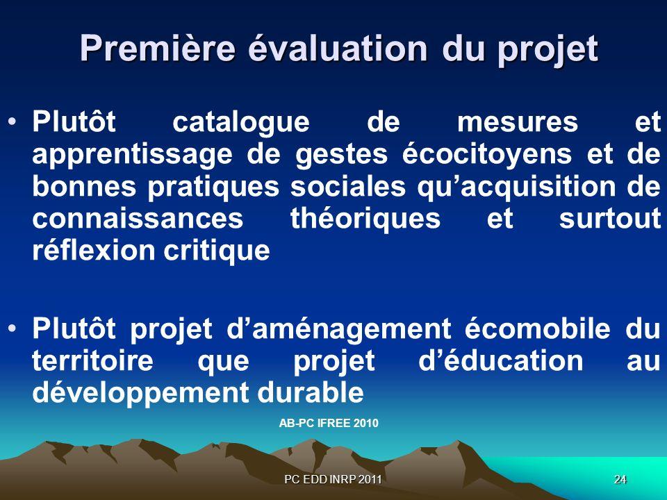 PC EDD INRP 201124 Première évaluation du projet Première évaluation du projet Plutôt catalogue de mesures et apprentissage de gestes écocitoyens et d