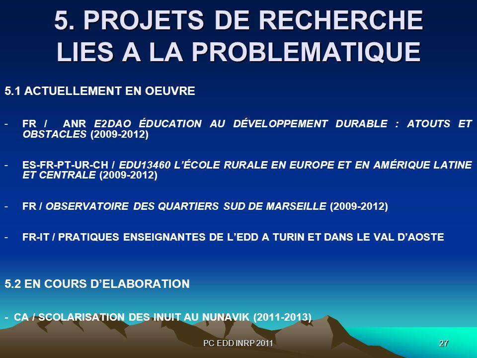 PC EDD INRP 201127 5. PROJETS DE RECHERCHE LIES A LA PROBLEMATIQUE 5.1 ACTUELLEMENT EN OEUVRE -FR / ANR E2DAO ÉDUCATION AU DÉVELOPPEMENT DURABLE : ATO