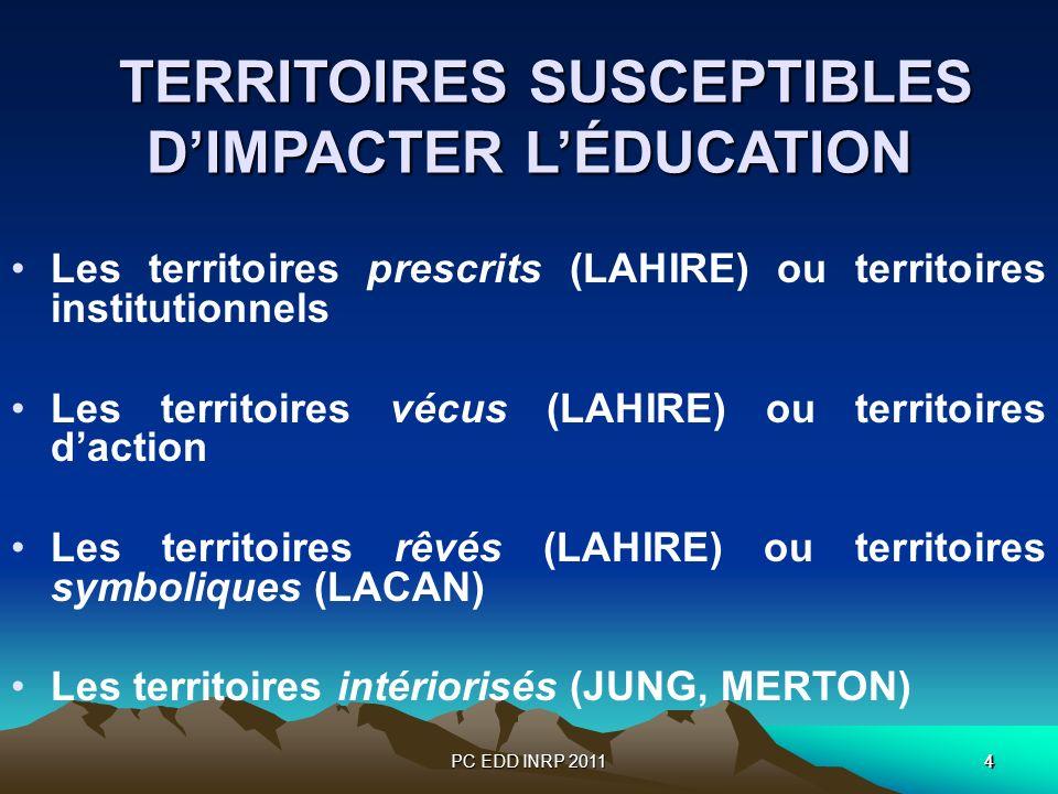 PC EDD INRP 201144 TERRITOIRES SUSCEPTIBLES DIMPACTER LÉDUCATION TERRITOIRES SUSCEPTIBLES DIMPACTER LÉDUCATION Les territoires prescrits (LAHIRE) ou territoires institutionnels Les territoires vécus (LAHIRE) ou territoires daction Les territoires rêvés (LAHIRE) ou territoires symboliques (LACAN) Les territoires intériorisés (JUNG, MERTON)