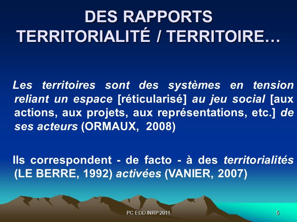 PC EDD INRP 201155 DES RAPPORTS TERRITORIALITÉ / TERRITOIRE… Les territoires sont des systèmes en tension reliant un espace [réticularisé] au jeu soci