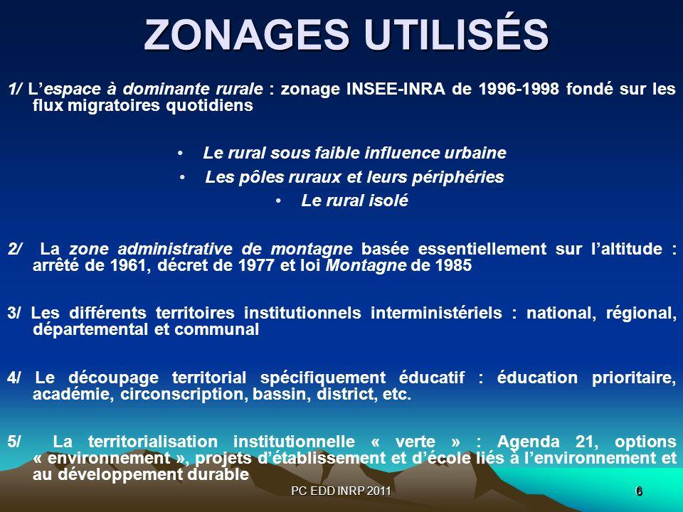 PC EDD INRP 20116 6 ZONAGES UTILISÉS ZONAGES UTILISÉS 1/ Lespace à dominante rurale : zonage INSEE-INRA de 1996-1998 fondé sur les flux migratoires qu