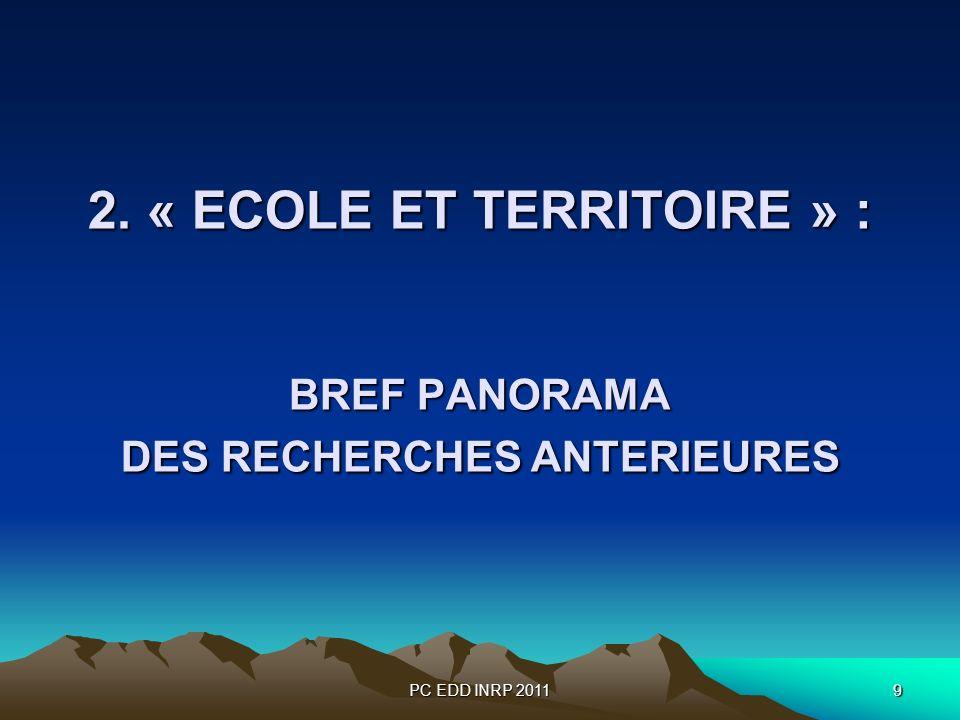 PC EDD INRP 20119 2. « ECOLE ET TERRITOIRE » : BREF PANORAMA DES RECHERCHES ANTERIEURES 2.