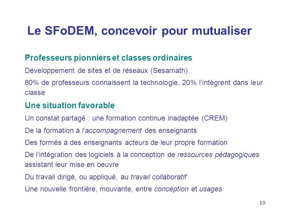 10 Le SFoDEM, concevoir pour mutualiser Professeurs pionniers et classes ordinaires Développement de sites et de réseaux (Sesamath) 80% de professeurs