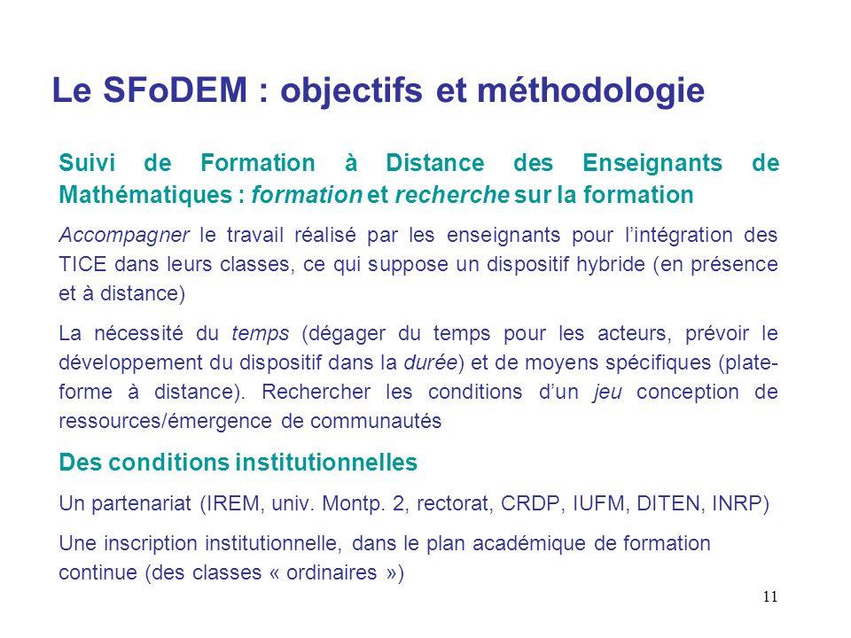 11 Le SFoDEM : objectifs et méthodologie Suivi de Formation à Distance des Enseignants de Mathématiques : formation et recherche sur la formation Acco