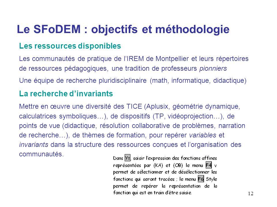 12 Le SFoDEM : objectifs et méthodologie Les ressources disponibles Les communautés de pratique de lIREM de Montpellier et leurs répertoires de ressou