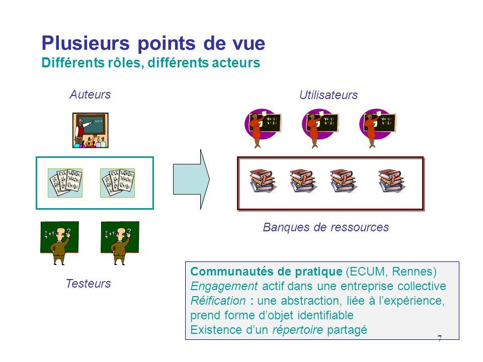 7 Plusieurs points de vue Différents rôles, différents acteurs Testeurs Auteurs Utilisateurs Banques de ressources Communautés de pratique (ECUM, Renn