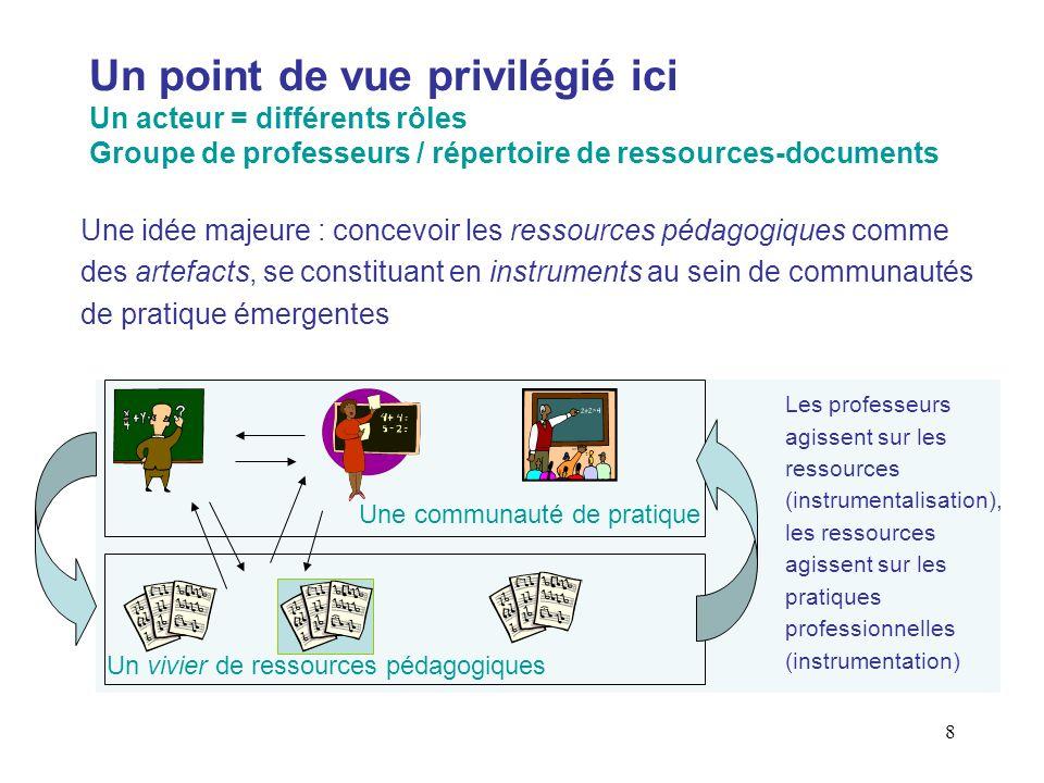 8 Une idée majeure : concevoir les ressources pédagogiques comme des artefacts, se constituant en instruments au sein de communautés de pratique émerg