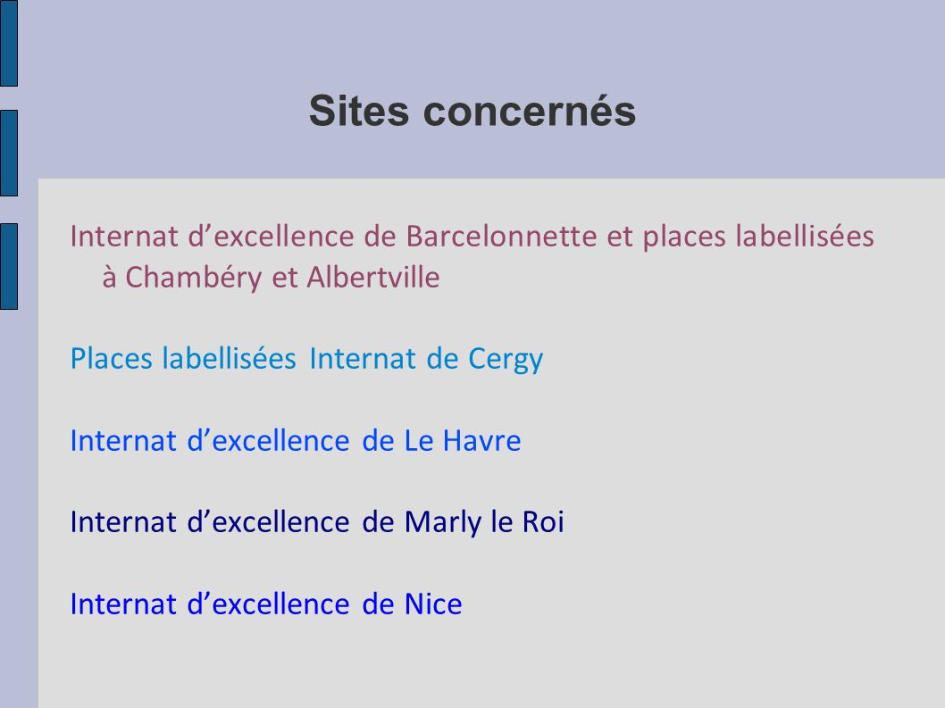 Sites concernés Internat dexcellence de Barcelonnette et places labellisées à Chambéry et Albertville Places labellisées Internat de Cergy Internat dexcellence de Le Havre Internat dexcellence de Marly le Roi Internat dexcellence de Nice