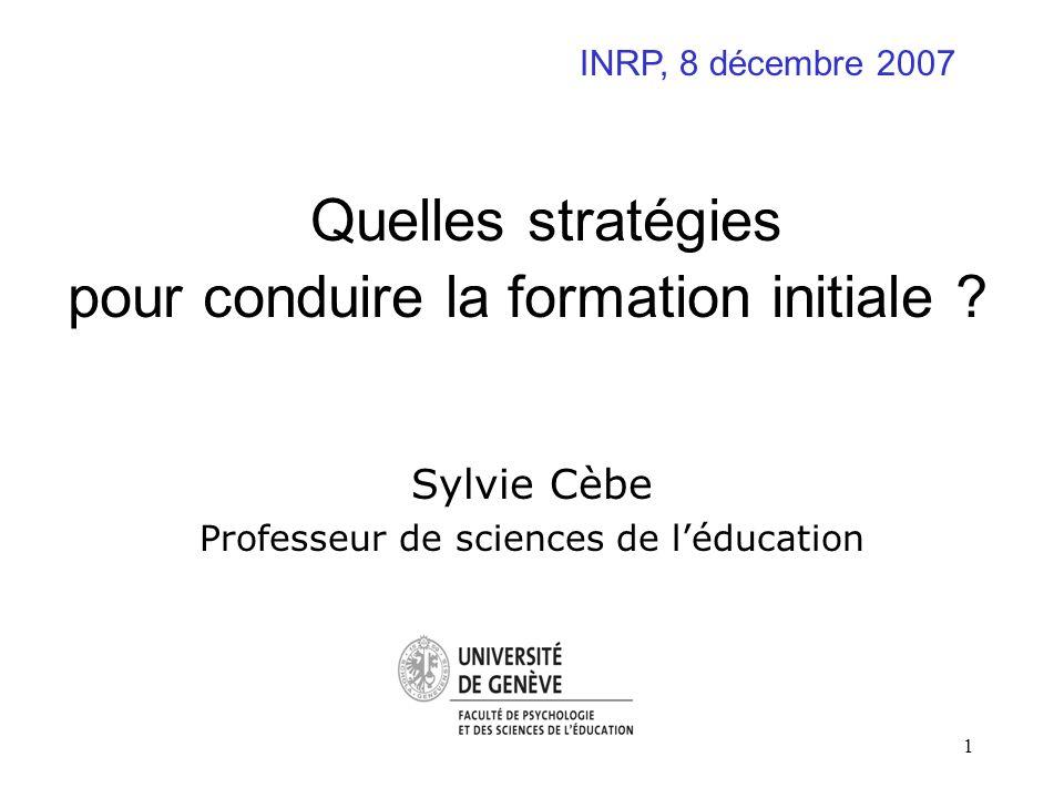 1 Quelles stratégies pour conduire la formation initiale ? Sylvie Cèbe Professeur de sciences de léducation INRP, 8 décembre 2007