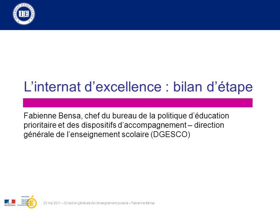 Sommaire 23 mai 2011 – Direction générale de lenseignement scolaire – Fabienne Bensa 1.