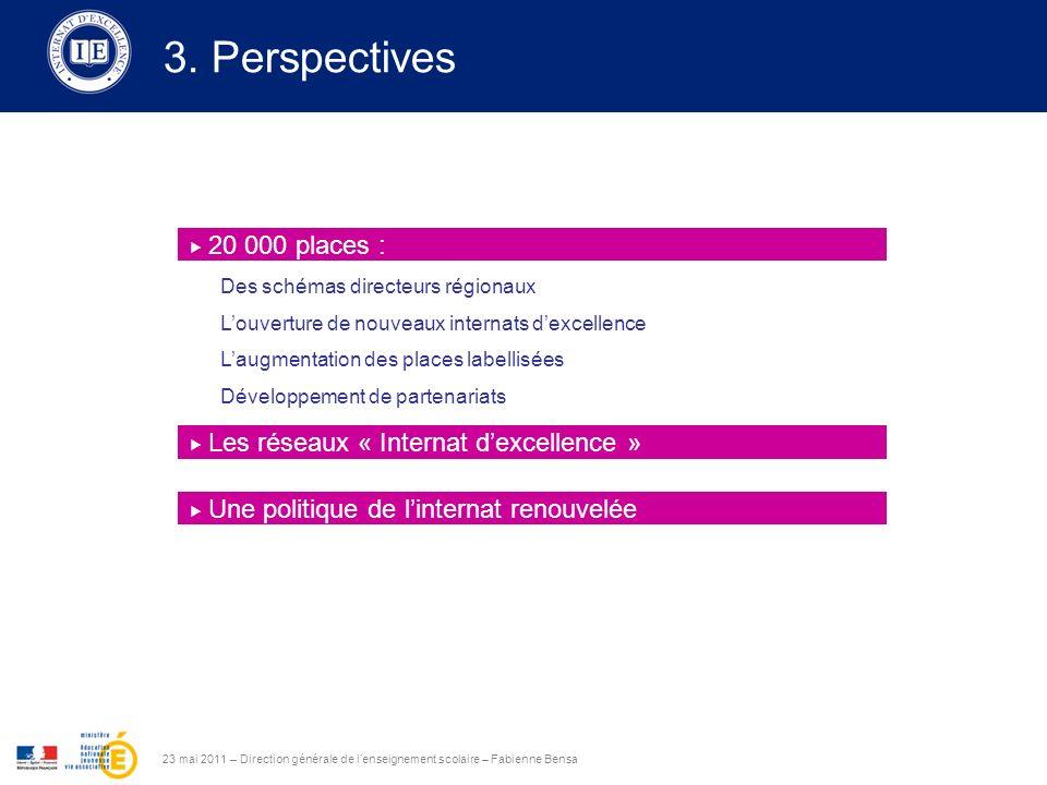 3. Perspectives 23 mai 2011 – Direction générale de lenseignement scolaire – Fabienne Bensa 20 000 places : Les réseaux « Internat dexcellence » Une p