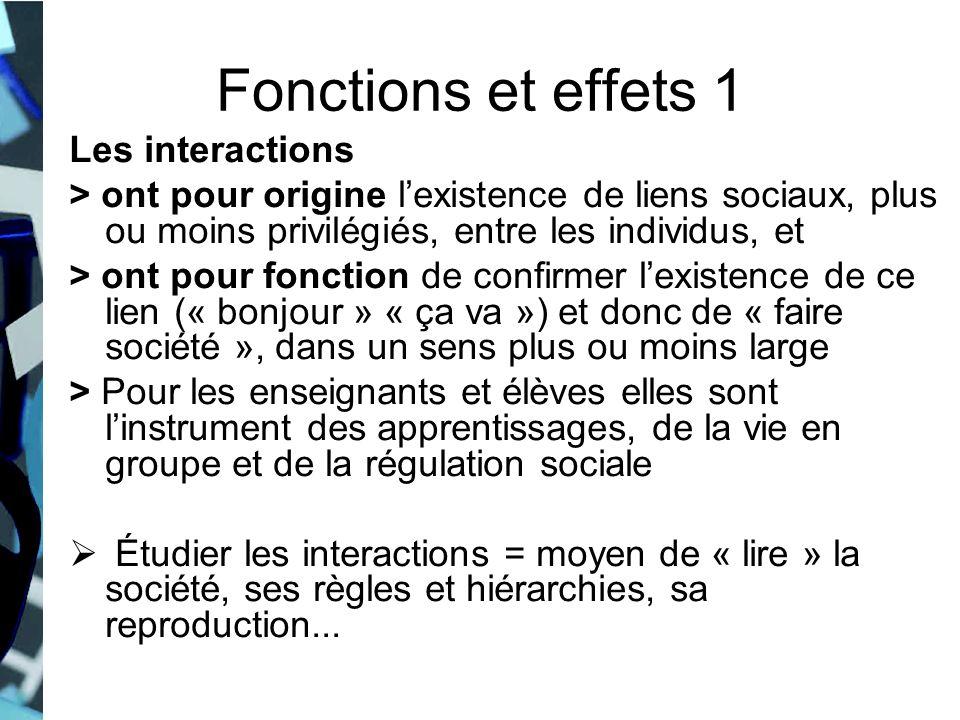 Fonctions et effets 1 Les interactions > ont pour origine lexistence de liens sociaux, plus ou moins privilégiés, entre les individus, et > ont pour f