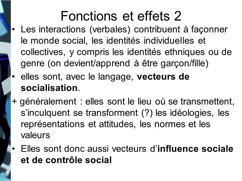 Fonctions et effets 2 Les interactions (verbales) contribuent à façonner le monde social, les identités individuelles et collectives, y compris les id